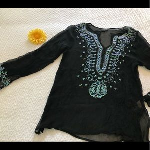 Gorgeous Venus Black Sequin Silk Beach CoverUp